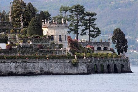 bella: close up of the gardens at Isola Bella in Maggiore lake, Italy