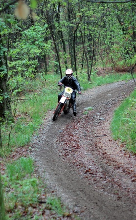 arona: PARUZZARO, ITALY- MAY 1  Unidentified motorcyclist participates in the  Moto Regolarita Arona