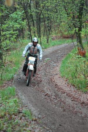 arona: PARUZZARO, ITALY- MAY 1  Unidentified motorcyclist participates in the  Moto Regolarita Arona  Italy