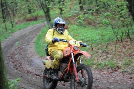 enduro: PARUZZARO, ITALY- MAY 1  Unidentified motorcyclist participates in the  Moto Regolarita Arona  Italy