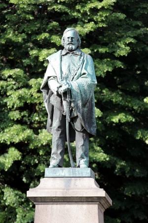 garibaldi: Giuseppe Garibaldi Bronze Statue by Enrico Braga located at Garibaldi square in Novara, Italy