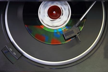 Vintage record player, close up of a Vinyl record photo