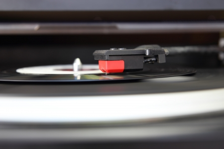 Vintage record player, close up of the stylus photo