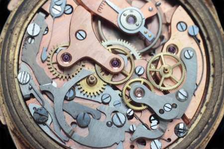 mechanism: Macro shot of the interior of an old watch