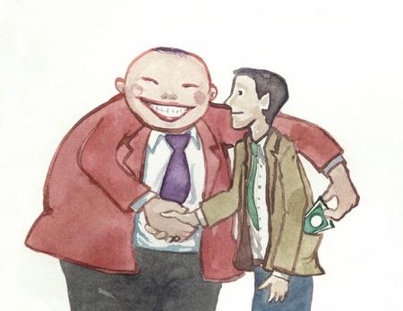 a big man steal money shaking hands over a deal