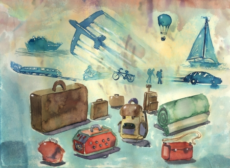 means of transport:  means of transport, travel concept artistic watercolor illustration