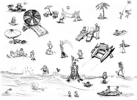 Aerial summer scene at the beach, hand drawn illustration