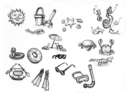 hand drawn sketches of summer beach items photo