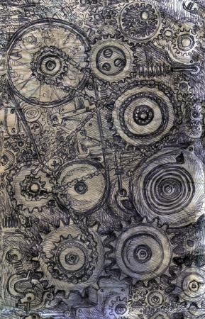 workings:  train of gears, Steam punk background sketch  illustration Stock Photo