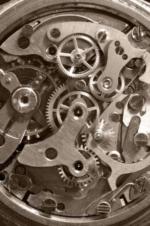 Old clockworks of Analogue  watch, macro shot