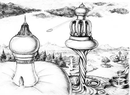immagination: Futuristic city sight, skecth illustration Stock Photo