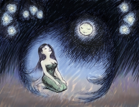 menstruation: Full Moon hugging woman, menstruation concept  illustration Stock Photo