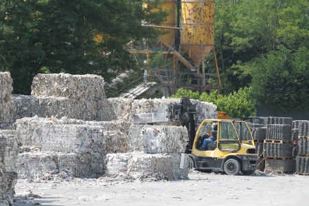paper bales ready for recycling at paper factory plant