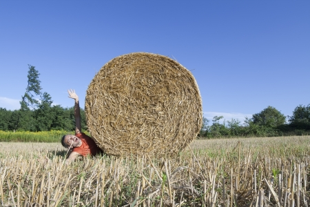 panicked: Panicked man being crushed by a  rolling Hay bale
