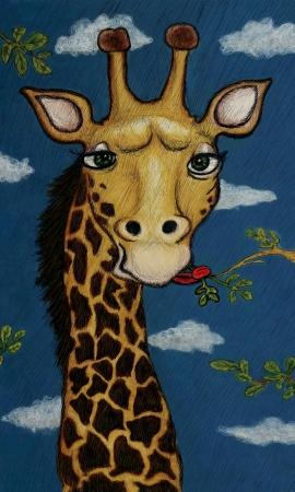 cartoon giraffe eating leaves, engraving style illustration illustration