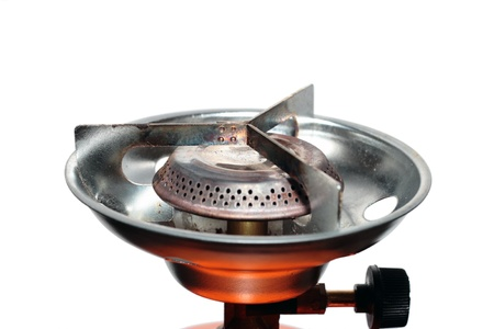 camping gas cooker over white background photo
