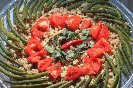 spelt plate with tomatoes, green beans and Thyme, vegetarian food  photo