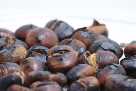 close up of roasted chestnuts Stock Photo
