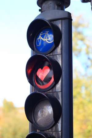 heart shaped traffic light in Copenhagen, Denmark photo
