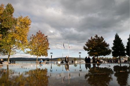 arona: Promenade and Fountain in Arona, Maggiore lake, Italy