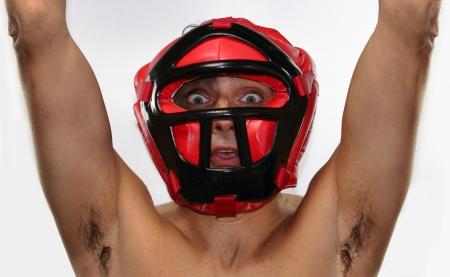 exult: boxing match winner Stock Photo