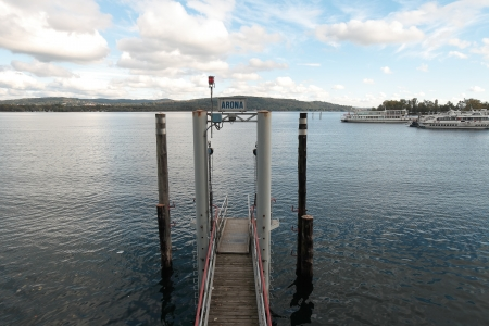 arona: Landing Stage in Arona on  Maggiore Lake, Italy