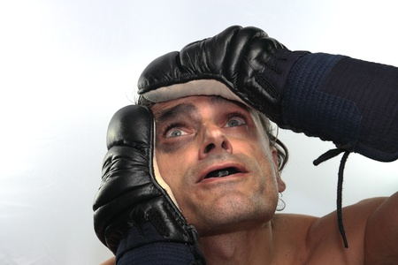 desperate man boxer with black eye