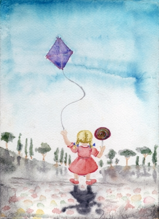 little girl with a kite and candy, watercolor illustration Stock Photo