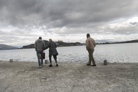 stroll: people having a stroll on Maggiore Lake, Italy Stock Photo