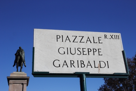 Garibaldi square and memorial statue in Rome, Italy