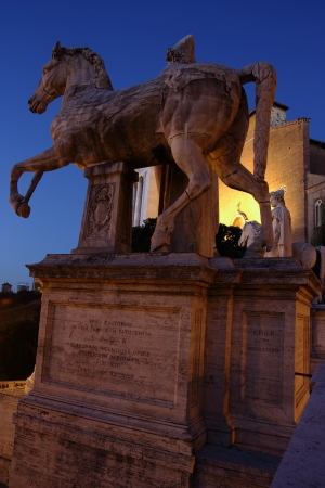 Dioscuri statues in the Capitol hill in Rome , Italy