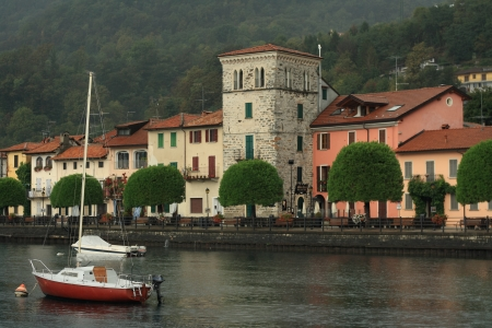 waterfront of Pella, Village on Orta lake, Italy photo