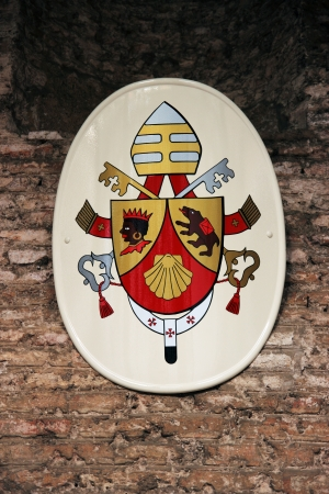 xvi: Pope Joseph Ratzinger family shield with symbols   brown bear and Moor Editorial