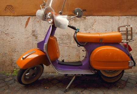 Vespa an Italian vintage colorful scooter Stock Photo