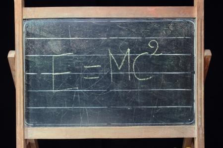 relativity: theory of relativity formula on vintage blackboard
