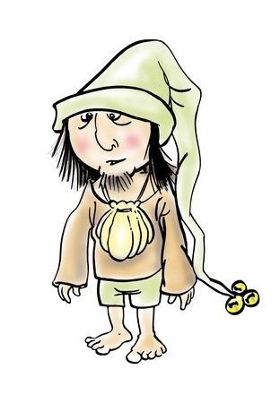 wandering: wandering medieval man, cartoon illustration isolated over white Stock Photo