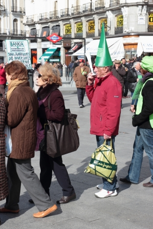 costumers: Customers of Bankia at a noisy demonstration in Puerta del Sol Square in Madrid, Spain, on Sunday March 2, 2013. Protest was focused on products known as Preferentes that were sold by Spain?s nationalised lenders, the largest being Bankia, only to see the Editorial