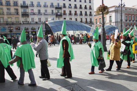 indignados: Customers of Bankia at demonstration in Puerta del Sol Square in Madrid, Spain, on Sunday March 2, 2013. Protest was focused on products known as Preferentes that were sold by Spain?s nationalised lenders, the largest being Bankia, only to see their value