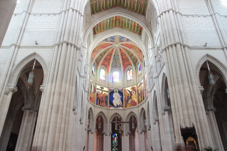 Iterior view of the Cathedral of Almudena in Madrid, Spain