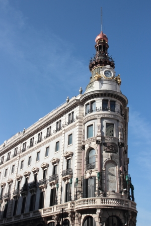 historical building Banco Espanol de credito in Madrid , Spain