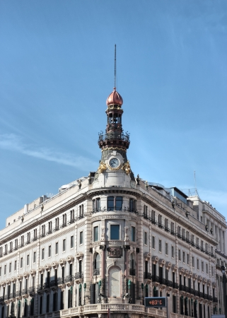 historical building exterior in Madrid , Spain