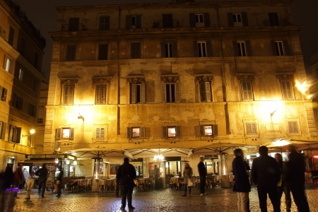 derives: ROME - MARCH 17: night life in Trastevere on March 17, 2013 in Rome, Italy. The districts name derives from the Latin words Trans Tiberem: beyond the Tiber river. Today Trastevere is one of the centers of Roman night life; rich in pubs, restaurants, cl Editorial