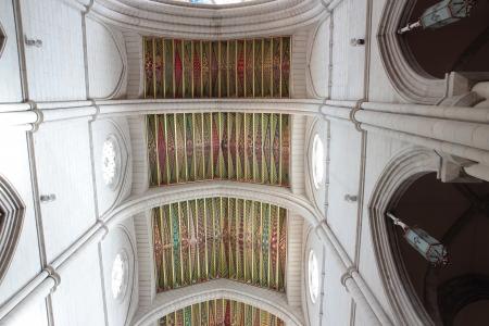 colorful ceiling in the Cathedral de la Almudena in Madrid, Spain photo