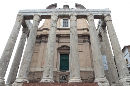 The church of San Lorenzo in Miranda in the Roman Forum, built over the ancient Roman Temple of Antoninus and Faustina, Rome, Italy.