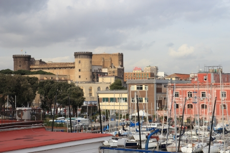 seaports: NAPLES, ITALY - JAN 30:  View of Castel Nuovo from the Harbour on january 30, 2013 in Naples, Italy. The Port of Naples is one of the largest Italian seaports and one of the largest seaports in the Mediterranean Sea basin Editorial
