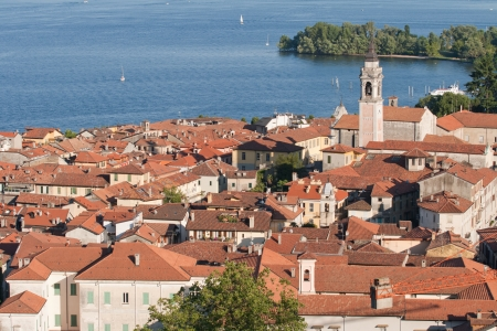 arona: aerial view of Arona and Lake Maggiore, Italy Stock Photo