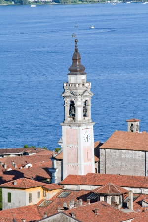arona: Bell Tower against the lake Maggiore, Arona, Italy