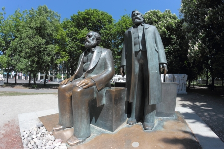 The statues of Karl Marx and Friedrich Engels in Marx-Engels-Forum, Berlin, Germany
