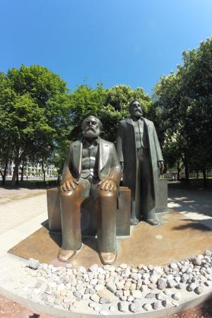 friedrich: The statues of Karl Marx and Friedrich Engels in Marx-Engels-Forum, Berlin, Germany