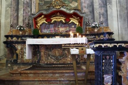 martyr: MADONNA DEL SASSO, ITALY - JULY 28  Baroque interior of the Madonna del Sasso church with San Donato martyr relics on July 28, 2013 in Madonna Del Sasso, Italy
